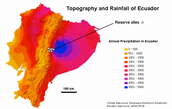 Our eastern Andean reserves. See more detailed map below. Our new northwestern reserve, the Dracula Reserve, is still being assembled and is not shown on this map.