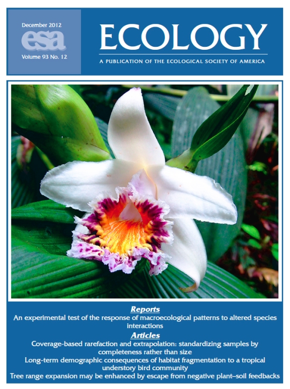 Sobralia luerorum from our Cerro Candelaria Reserve is on the cover of the Dec 2012 issue of the journal Ecology. It is a rare species easily missed in diversity surveys. Many species will be missed when sampling a tropical forest. In this issue of Ecology, Anne Chao and I derive mathematical techniques for taking these missing species into account when comparing  the diversities of two or more sites.