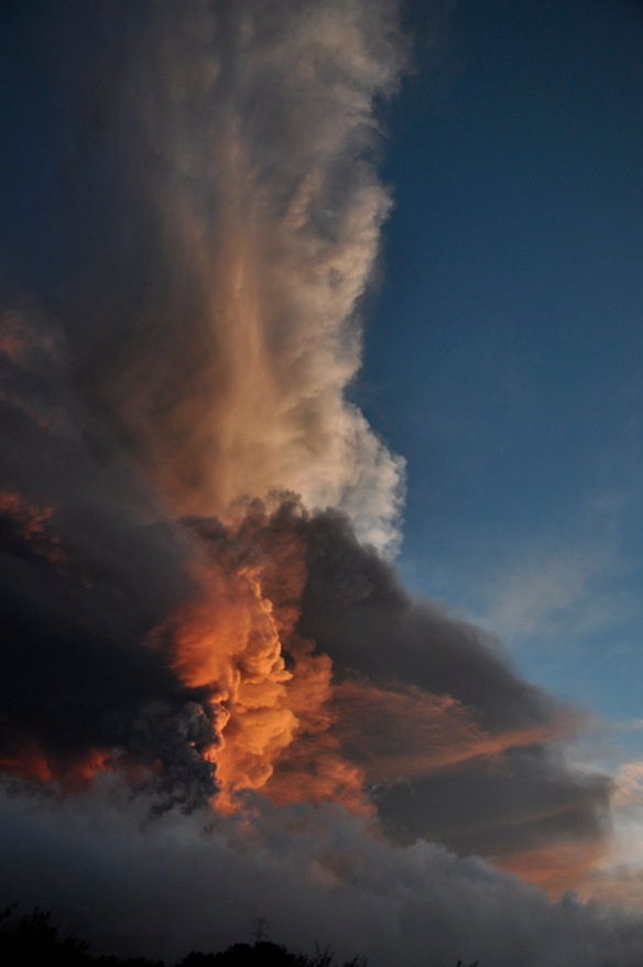 An hour or so after the main explosion. The setting sun and thousands of tons of sulfur dioxide gas turn the vapor clouds yellow-orange, while the thick ash clouds remain black. Photo: Lou Jost