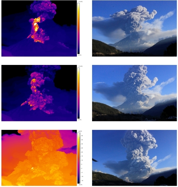 These infrared and visible-light photos of the eruption were taken by the Instituto Geofisico of the Escuela Politecnica Nacional from their monitoring station in Guadalupe, near Banos. The upper part of the volcano was essentially sterilized by the heat. Photo: IGEPN.