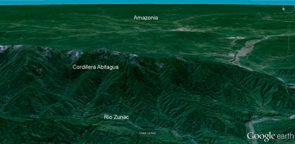 The Cordillera Abitagua is the first line of mountains facing the immense Amazon Basin. Click to enlarge. Image: Google Earth.