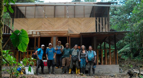 The team of herpetologists who discovered Pristimantis ardyae, standing in front of our finished research station.