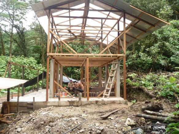We've added the roof in this picture. We made it translucent to help keep the interior warm and dry.