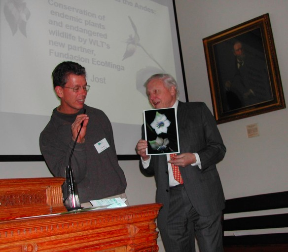 Me presenting Sir David Attenborough with a photo of his tree, Blakea attenboroughii, in London. Photo: Nigel Simpson.