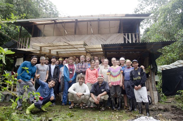 University of Alabama students, Universidad Estatal Amazonica students, Drs John Clark and David Neill, and our guards at our Rio Zunac field station.  John is center bottom in white shirt, David is directly behind him. Photo: John Clark.