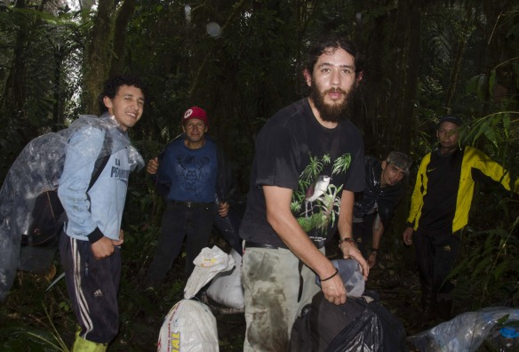 Juan Pablo Reyes (foreground), our reserve manager, discovered three of the five species of frogs reported in the Ecuadorian news media last month. Behind him are our staff members Abel Recalde, Abdon Recalde, Luis Recalde, and Tito Recalde. Here they are camping in our Rio Zunac Reserve. Photo: John Clark.