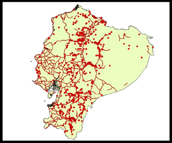 Almost all georeferenced collections of endemic plants were made within 750m of a road! Map by Lorena Endara.