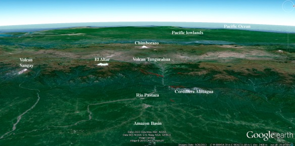The Cordillera Abitagua as seen from an observation point high above the Amazon basin, looking west towards the Pacific Ocean. The red outlines show our reserves.