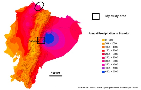 Precipitacion map of Ecuador. Note area of high precipitacion circled in northwestern Ecuador. Map: Lou Jost