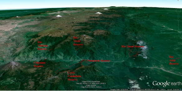 Our reserves in the upper Rio Pastaza watershed. Click to enlarge.