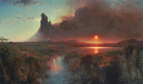 Click to enlarge. Frederic Church, the famous Hudson River painter, visited South America in 1853 and painted an eruption of Cotopaxi. The painter may have actually witnessed Cotopaxi's 1853 eruption, but more likely he based this painting on his observations of an eruption of Sangay, a very similar Ecuadorian volcano.