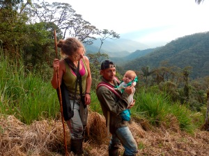 Ruth, her baby Breogan, and Fausto Recalde on the trail to the eagle nest. Photo: Angel de Pazo Carballo.