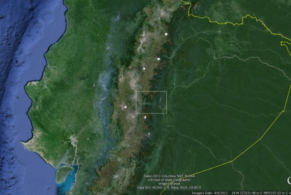 Google Earth image showing the Rio Pastaza valley (white rectangle).
