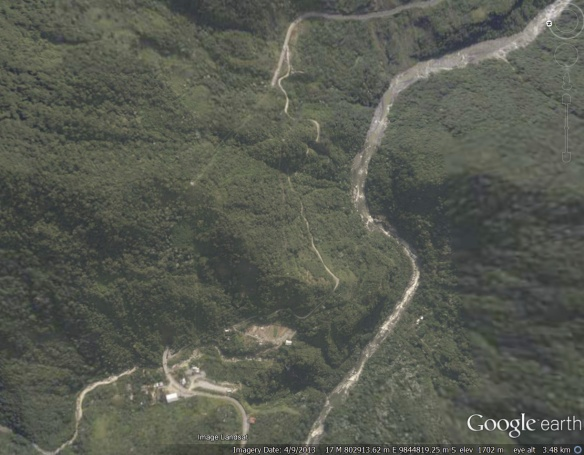 The Banos-Puyo highway disappears into the mountain (lower left) and comes back out a kilometer away.