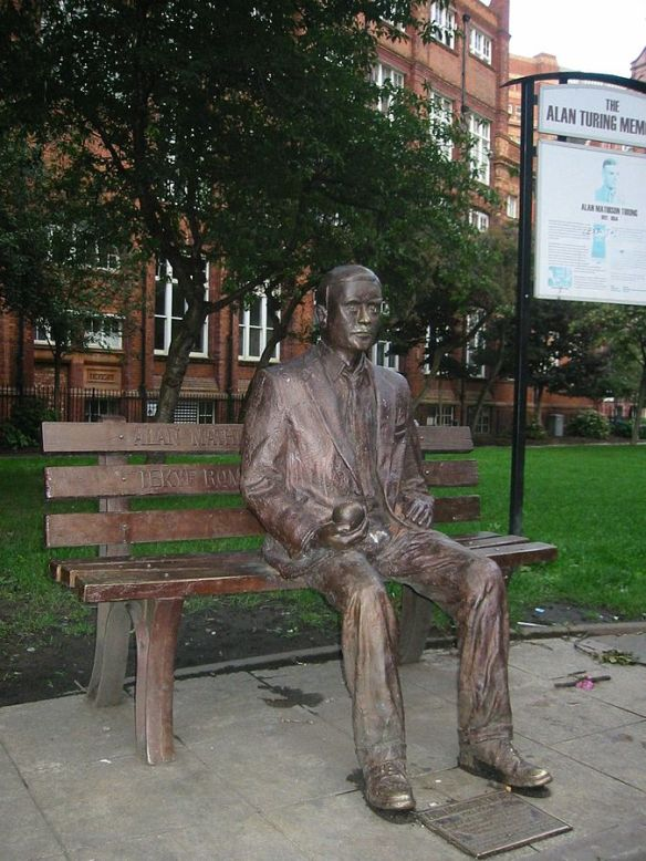 Alan Turing memorial statue in Sackville Park, Manchester, UK ©Lmno