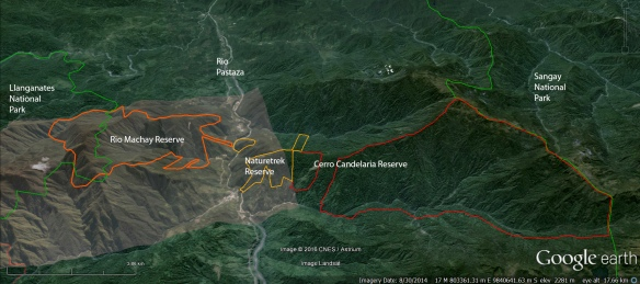 "Our corridor between the Llanganates National Park (left, green outline) and Sangay National Park (right, green outline). The Rio Machay Reserve (orange outline) is the land newly purchased through World Land Trust's ""Forests in the Sky"" appeal. Our Naturetrek Reserve (outlined in yellow) and our Cerro Candelaria Reserve (outlined in red) are the other parts of the corridor."