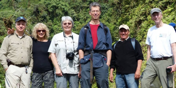On our way back to Quito, finally with sunny weather! From left to right: Spiro Kasomenakis, Kathi McCord, Mary Gerritsen, me, reserve guard Hector Yela, and Steve Beckendorf.