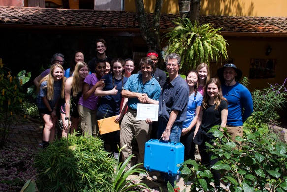 John Clark and his Lawrenceville School students deliver a We Share Solar Suitcase to me in Banos . They then took it to our Cerro Candelaria scientific station in installed it.