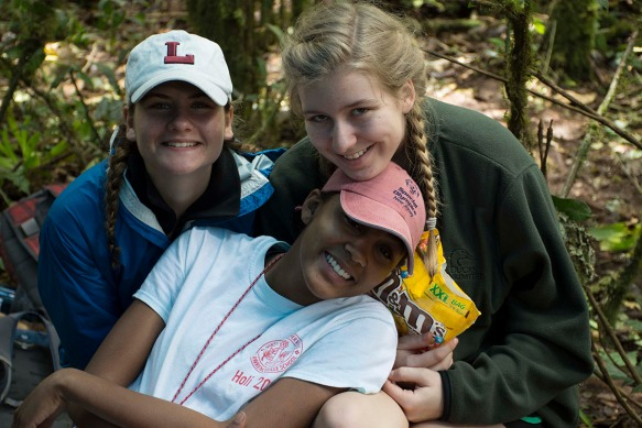 Lawrenceville School students in the forest. Photo: