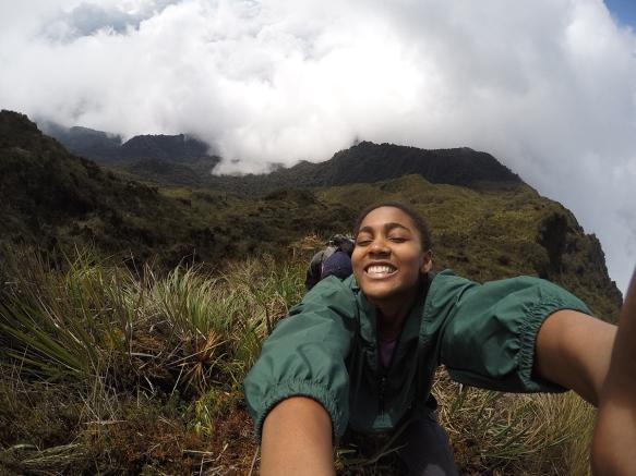 Kaimansa Sowah reaches the summit of Cerro Candelaria.