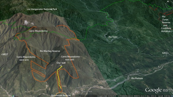 Cerro Mayordomo, with our Rio Machay Reserve outlined in orange, and our Rio Zunac Reserve at far right outlined in red. Our path on the east arm of Cerro Mayordomo is in yellow.