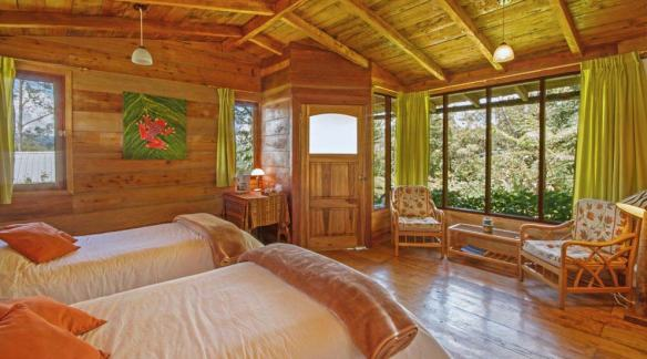 Accomodations at Cabanas San Isidro, with woven frog wall-hanging made by owner Carmen Bustamante. Photo: Cabanas San Isidro.