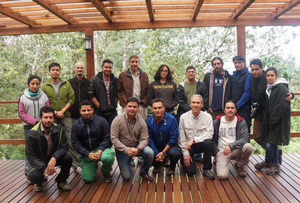 The amphibian specialists who updated the threat categories of Ecuadorian frogs at San Isidro. Left to right, back row: Raquel Betancourt, Diego Cisneros Heredia, Paul Szekely, Mauricio Ortega, Marcelo Tognelli, Carolina Reyes, Jorge Rodriguez, Juan Pablo Reyes, Salomón Ramírez, Mario Yánez Muñoz, Patricia Bejarano. Front row: Juan Carlos Sanchez, Luis Amador, Mauricio Rivera Correa, Paul Gutierrez, Bruce Young, Jorge Brito. Juan Pablo Reyes, fourth from the right, is our reserve manager, and one of our directors, Mario Yanez, is second from the right. Photo: Bruce Young.